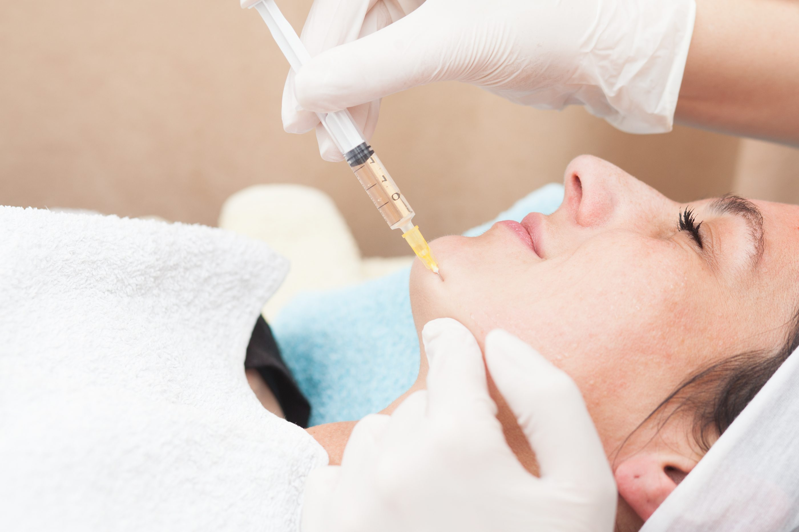 close up of a young woman having mesotherapy treatment